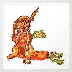 Hase auf der Möhre,Bunny on the carrot, Art Print by Birgit - $12.48