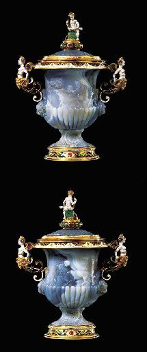 A RENAISSANCE-STYLE ENAMELLED AND GOLD-MOUNTED GREY CHALCEDONY TWO-HANDLED URN AND COVER POSSIBLY DESIGNED BY REINHOLD VASTERS, AACHEN, CIRCA 1870