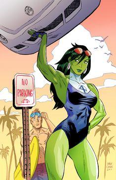 "comic-book-ladies: ""She-Hulk by Matt Cossin "" Marvel Marvel Dc, Marvel Girls, Comics Girls, Heroes Dc Comics, Marvel Comics Art, Marvel Heroes, Cosmic Comics, Marvel Universe, Dc Superhero Girl"