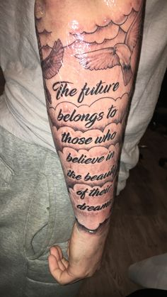 Quote tat - Cloud Tat - Doves - Black & Grey - Dubuque Tattoo Club - Artist: Greg Howell