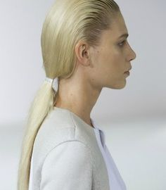 """Recreate the """"wet hair"""" look from the Ports 1961 Spring 2012 fashion show with these step-by-step instructions from Redken stylist Guido. Wet Look Hair, Wet Hair, Hair Looks, Plaits, Only Fashion, Fishtail, Ponytail, Hair Inspiration, Runway Fashion"""