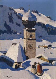 "Alfons Walde ""Aurach"" (vicino a Kitzbühel), 39 x 28 cm, prezzo raggiunto € Vintage Ski, Vintage Posters, Kunst Online, Ski Posters, Country Scenes, Snow Scenes, Winter Art, Mountain Landscape, Grafik Design"