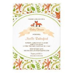Shop Woodland Fox Baby Shower Invites / mother and baby created by lemontreecards. Custom Baby Shower Invitations, Baby Shower Invitation Cards, Baby Shower Fall, Mother And Baby, New Years Party, Fox Baby, Invites, Woodland, Personalized Baby