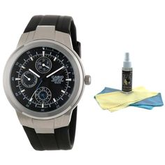 Casio EF305-1A Men's Edifice Black Dial Black Rubber Strap Dress Watch with 30ml Ultimate Watch Cleaning Kit