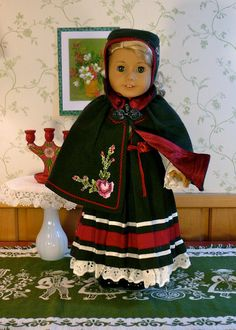 RESERVED, American Girl 18 inch doll clothes: Scandinavian holiday dress, hat, and cape. Sewing Doll Clothes, American Doll Clothes, Sewing Dolls, Girl Doll Clothes, Doll Clothes Patterns, Girl Dolls, Ag Dolls, Sweden Costume, Scandinavian Holidays