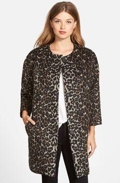 Vince Camuto Collarless Leopard Print Faux Fur Coat $199, XXSP