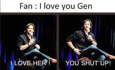 "[SET OF GIFS] ""SHE'S MINE!"" Jared convention panel... this is adorable"