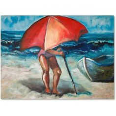 Trademark Fine Art Beach Umbrella Canvas Art by Judy Harris, Size: 24 x 32, Multicolor