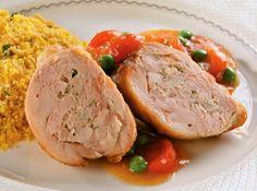 Coxa de frango recheada com lombo - Veja mais em: http://www.cybercook.com.br/receita-de-coxa-de-frango-recheada-com-lombo.html?codigo=16467