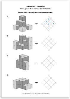 Download => Geometrie => Bau-Plan erstellen (3) Math For Kids, Puzzles For Kids, Fun Math, Preschool Math, Math Classroom, Teaching Math, Visual Perceptual Activities, Math Activities, Montessori
