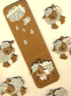 schaapjes van krant en karton Translated to english: sheep of newspaper and cardboard Book Crafts, Fun Crafts, Diy And Crafts, Paper Crafts, Creative Bookmarks, Paper Bookmarks, Felt Bookmark, Bookmark Craft, Origami