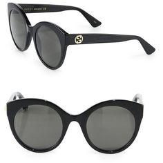 8a7ce52af8 Gucci Women s 52MM Cat s-Eye Sunglasses - Black (1.180 BRL) ❤ liked on  Polyvore featuring accessories