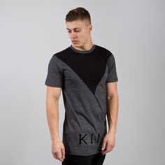 Staple V-Panel Longline T-shirt - Black Melange / Black  // Click the link to…