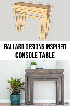 This is gorgeous! How to build a Ballard Designs inspired DIY console table for a fraction of cost. Get the plans! Easy Simple Farmhouse DIY console table for the entryway or sofa table. #AnikasDIYLife #woodworkingplans #farmhouse