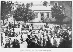 Slave auction on Cheapside, Lexington, KY. NYPL.