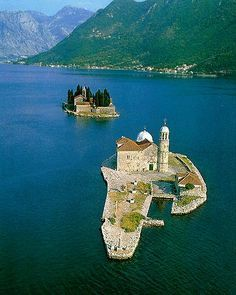 Montenegro Coast, took a boat out to these small islands right in the inlet our lady of the rocks , perast Albania, Places To Travel, Places To See, Places Around The World, Around The Worlds, Wonderful Places, Beautiful Places, Ex Yougoslavie, Saint Marin