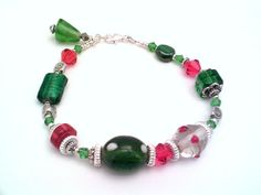Beaded Bracelets Red   Czech red, green, beaded bracelet, lampwork beads, crystals, holiday ...