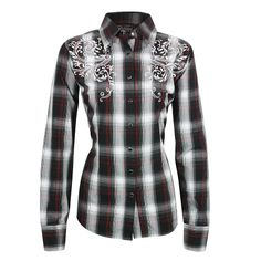 Pink Cattlelac Women's Embroidered Plaid Print Western Shirt Super cute:)
