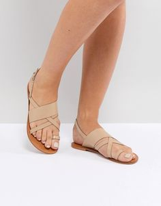 c2961b5409dd ASOS FINLEY Leather Flat Sandals at asos.com