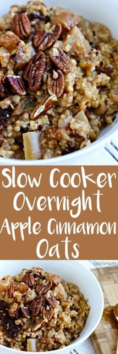 Throw the ingredients in your slow cooker before bed and you'll have warm overnight apple cinnamon oats ready when you wake up.