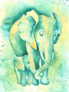 IMPRIMIR elefante bebé y mamá, verde azulado y amarillo vivero arte, acuarela de elefante por Katrina Pete