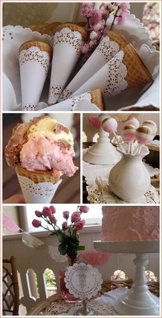 Neapolitan birthday party at a tea house, with hints of the old-fashioned and granny: roses and doilies. Some milk glass would be a fitting addition!