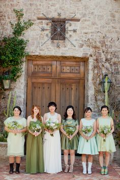 Every shade of green bridesmaids dresses  Photography: Elyse Hall - www.elysehall.com  Read More: http://www.stylemepretty.com/southwest-weddings/2014/04/21/green-superstition-mountain-golf-and-country-club-wedding/