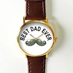 Best Dad Ever Moustache Watch Fathers Day Gift Dad Watch Watches for Men Leather Vintage Style Jewelry Accessories Gifts Spring Fashion Personalized