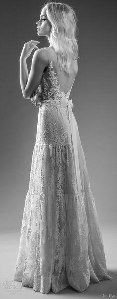 "lihi hod bridal 2017 sleeveless sheer strap full lace embellishment romantic a  line wedding dress open back sweep train (alex) bv -- Lihi Hod 2017 ""Dreams"" Bridal Collection"