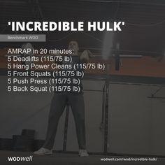 """Incredible Hulk"" WOD - AMRAP in 20 minutes: 5 Deadlifts lb); 5 Back Squat lb) Crossfit Memes, Crossfit Workouts At Home, Fit Board Workouts, Crossfit Baby, Crossfit Athletes, Monday Workout, Workout Routine For Men, Squat Workout, Cross Training"