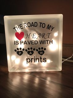 Dog lover lighted glass block