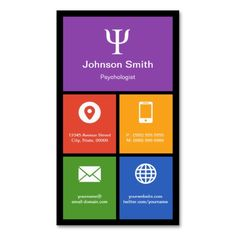 Social Worker Psychologist Colorful Tiles Creative Business Card Template. This is a fully customizable business card and available on several paper types for your needs. You can upload your own image or use the image as is. Just click this template to get started!