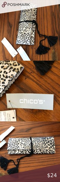 Chico's Jewelry Wrap for travel. New Washable animal print on outside, suede fabric on inside. A bar for rings, Three zippered compartments Extra strap for other goodies. All held together with adorable black cord with tassels. Chicos Other Long Duster, Chicos Jewelry, Red Turtleneck, Brown Suits, Duster Jacket, Online Thrift Store, Long Vests, Purple Sweater