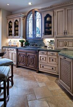 Beautiful Kitchenthe stone floor tiles washed cabinetry