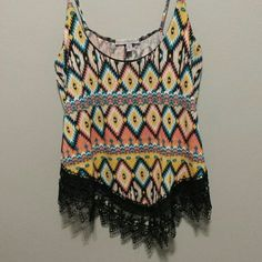 Crop top Multi colored tribal print with crochet bottom Charlotte Russe Tops Tank Tops