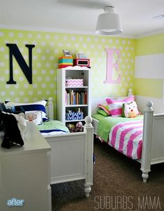 Ideas for a boy/girl shared bedroom. Draw an invisible line down the center of the room, boy on one side, girl on the other. Join them together with yellow polka-dot and striped walls and matching green-polka dot sheets. Featured on BetterAfter.net