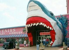 Gone, but never forgotten: Sharkheads Souvenir Shop on Beach Blvd, Biloxi, Mississippi. Completed destroyed in Hurricane Katrina.only a few pieces of cement blocks of this about block long store remained.and one of my favorites. Ocean Springs, Unusual Buildings, Tourist Trap, Roadside Attractions, Great White Shark, Savannah Chat, Savannah Georgia, Southern Style, Foodie Travel