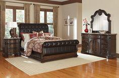 Bedroom Furniture - Monticello Pecan II 6 Pc. King Bedroom