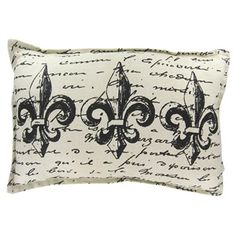 Cream Pillow with Black Fleur-De-Lis & Words | Shop Hobby Lobby this is on my living room chair.