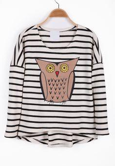 Stripes & owl motif top