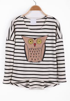 Black White Striped Long Sleeve Owl Print T-Shirt - Sheinside.com