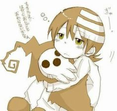 Soul Eater ~~~ Chibi Death the Kid huggles a plushie of his dad.... NANI ?!?!