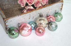 VINTAGE PINK ORNAMENTS  Shiny Brite  Mercury Glass by IWANTVINTAGE, $40.00