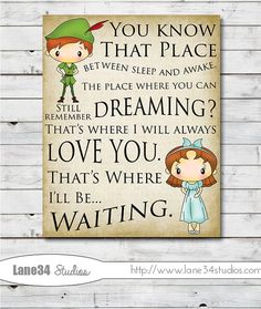 Peter Pan That's Where I'll be Waiting - Art Print for home decor, nursery, teenager, birthday, anniversary, and wedding gifts on Etsy, $12.00