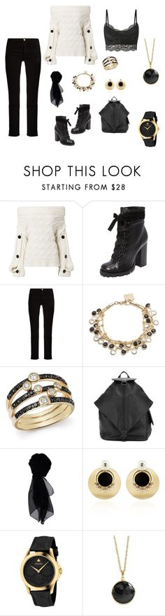 """""""Black, Cream & Gold Oversize Comfort"""" by thetreasuretrader ❤ liked on Polyvore featuring Hellessy, Schutz, Frame, Anne Klein, Bloomingdale's, Yohji Yamamoto, KOCCA, Anton Heunis, Gucci and Ippolita"""