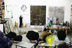 Artists at work in Nick Van Woert's studio