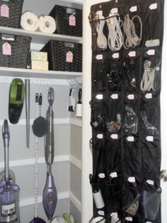 Super-organized utility closet (love the shoe organizer for cords/batteries/flashlights) .I have an extra shoe organizer - my next organization project! Organize Life, Organize Cords, Organize Electronics, Electronics Storage, Ideas Armario, Closet Organizer With Drawers, Closet Storage, Hanging Shoe Organizer, Cable Organizer