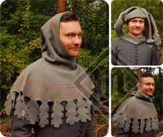 century hood made of a dense green/grey woolen cloth. No lining. The edge around the face finished with tablet-woven braid. The lower edge decorated with hand-made cut-outs and embroidery. Renaissance Costume, Medieval Costume, Renaissance Clothing, Medieval Dress, Medieval Hats, Medieval Fashion, Historical Costume, Historical Clothing, 14th Century Clothing