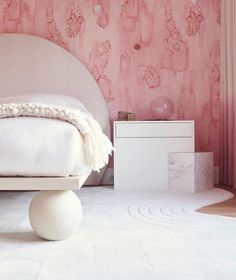 Hamptons Holiday House Show House 2019 Pink Bedroom - Designed by Cara Woodhouse Interiors Home Wallpaper, Custom Wallpaper, House In The Woods, The Hamptons, Bean Bag Chair, My Design, Ottoman, Interior Design, Interior Concept