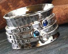 hand stamped Birthstone sterling silver spinner by cinnamonsticks